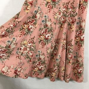 Gotcha Covered Romantic Floral Flared Skirt Pink